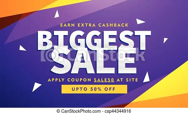 Purple and yellow biggest sale discount voucher design vector - discount voucher design