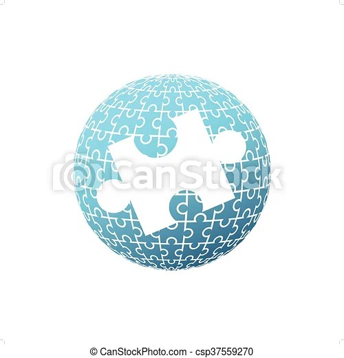 Puzzle globe Blue puzzle globe with one big white puzzle in the