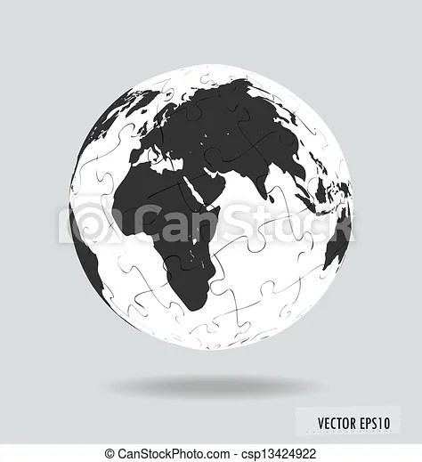 Puzzle globe vector illustration