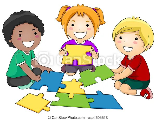 Puzzle Kids A Small Group Of Kids Re Constructing A