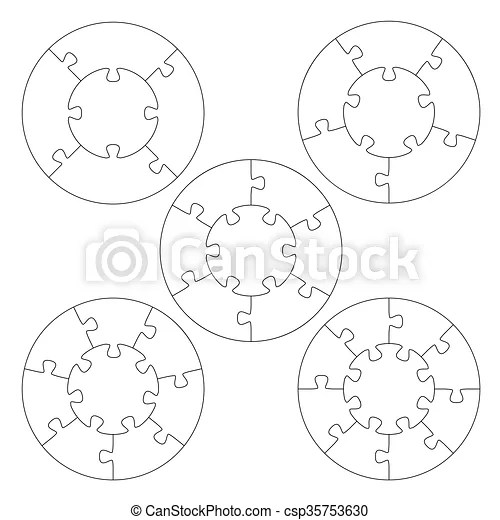 Puzzle templates circle Template of five round puzzles with