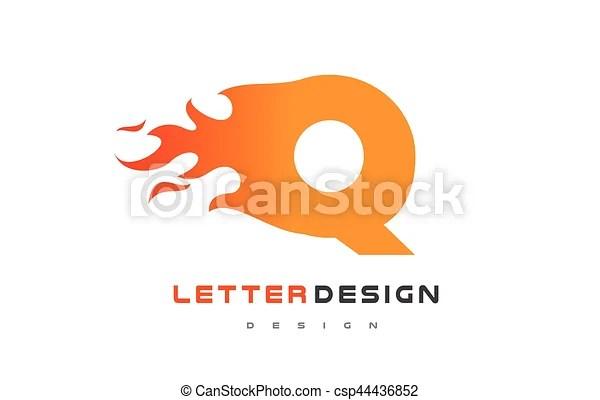 Q letter flame logo design fire logo lettering concept Q letter - flame logo