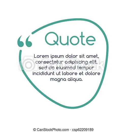 Quote speech bubble, template, text in brackets, citation frame