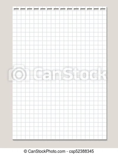 Realistic vector illustration of blank sheet of square paper from a - blank sheet of paper with lines