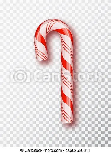 Realistic xmas candy cane isolated on transparent backdroptemplate