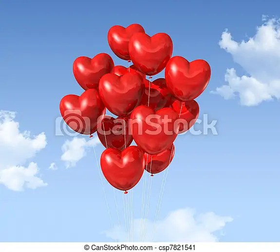 Red heart shaped balloons floating in the sky valentine\u0027s day symbol