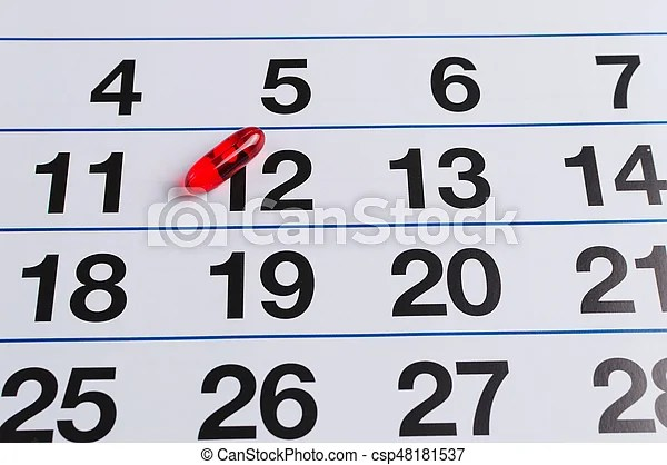 Red pill on the calendar schedule medication