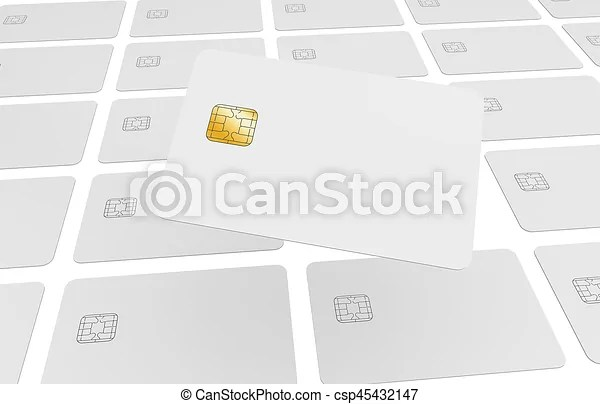 Repeated credit cards Blank credit card template, a chip card