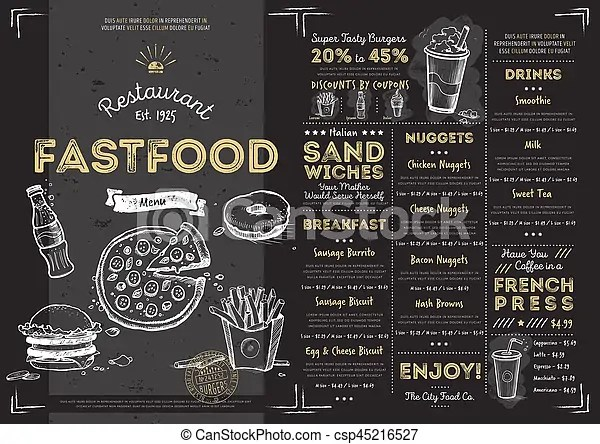 Restaurant cafe fast food menu template Restaurant fast stock - food menu template