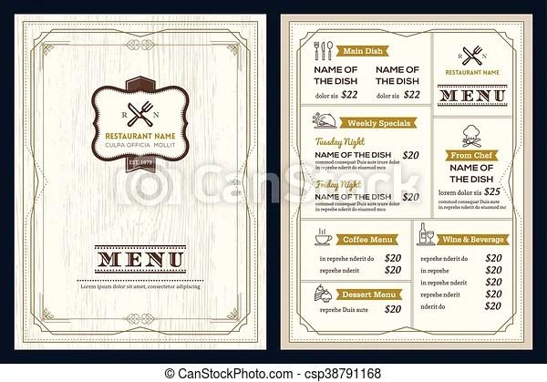 Restaurant or cafe menu design template with vintage retro clip - menu design template