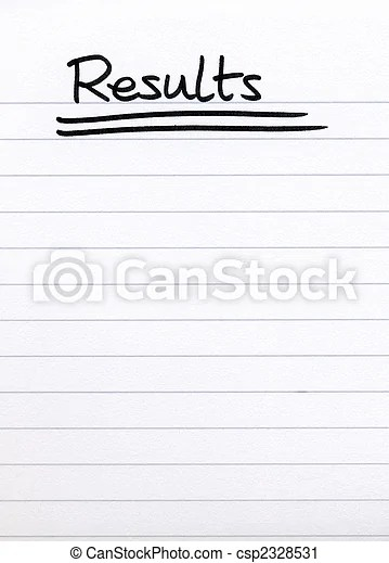 Results, written on white lined blank paper stock photography - lined blank paper