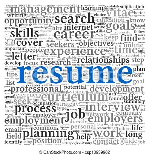 Resume concept words Resume concept in word tag cloud on stock - Words For A Resume