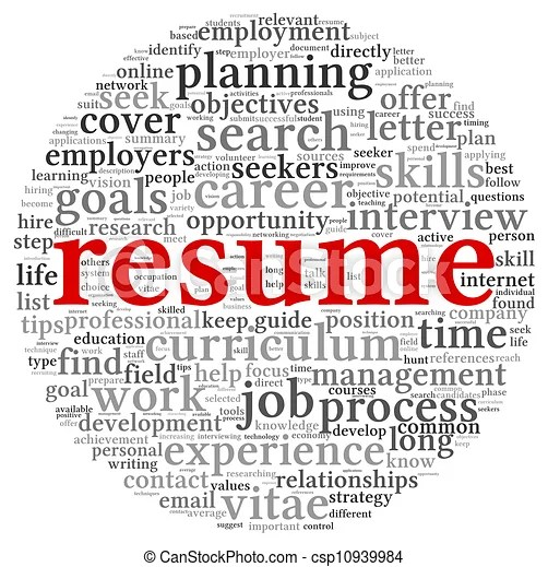 Resume concept words Resume concept in word tag cloud on white