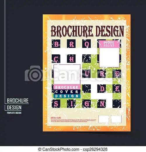 Retro brochure template design with geometric background vector - retro brochure template
