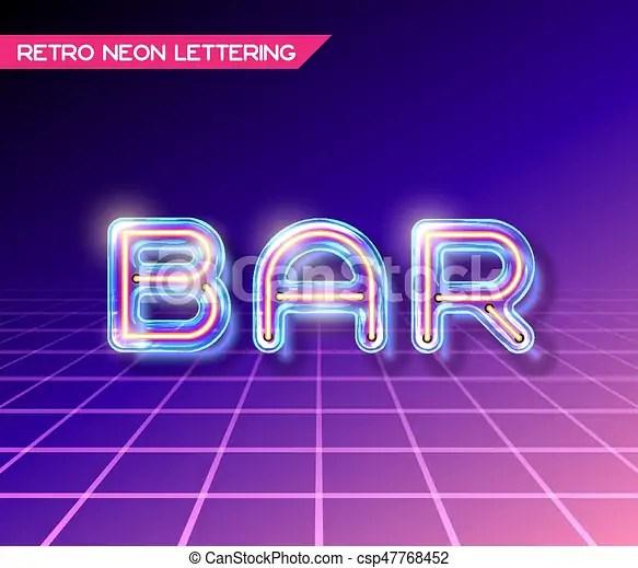 Retro glass neon lettering Retro neon glowing glass bar clipart - neon lettering