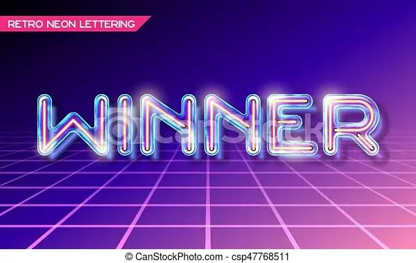 Retro glass neon lettering Retro neon glowing glass lettering