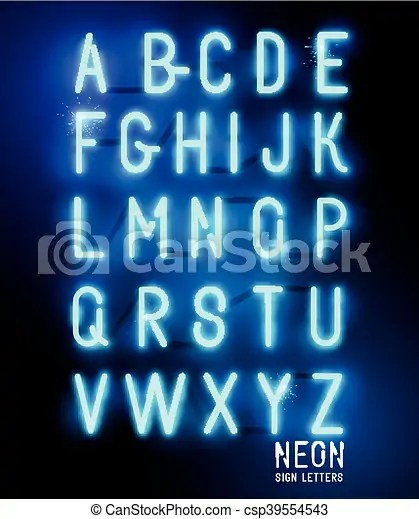 Retro glowing neon lettering Retro glowing neon blue sign letters