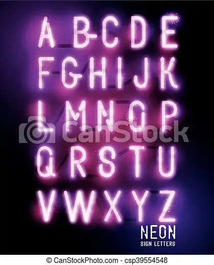 Retro glowing neon lettering Retro glowing neon pink sign eps - neon lettering