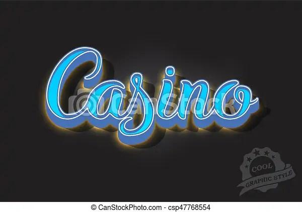 Retro neon lettering Retro neon glowing casino lettering 3d light