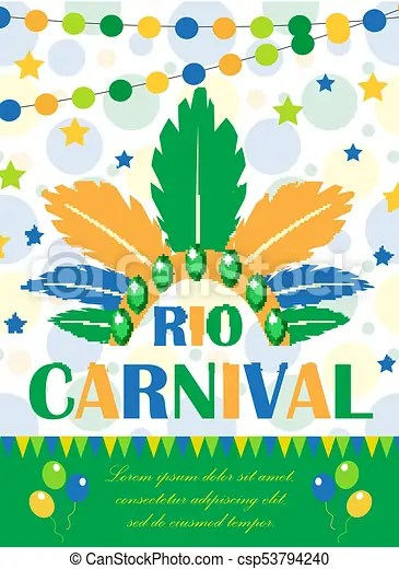 Rio carnival poster, invitation, flyer template for your eps