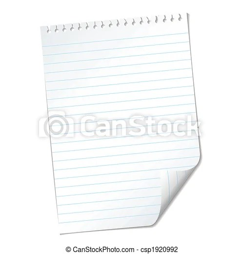 Ripped lined page Single piece of white note pad paper with clip - lined page