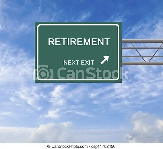 Road sign to retirement