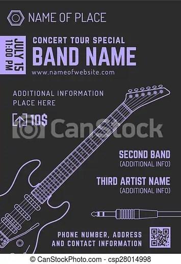 Rock music concert electro guitar vertical music flyer template