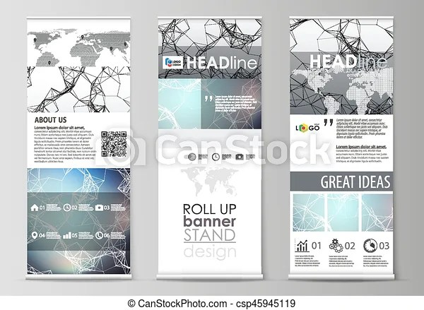 Roll up banner stands, abstract geometric design templates, vertical