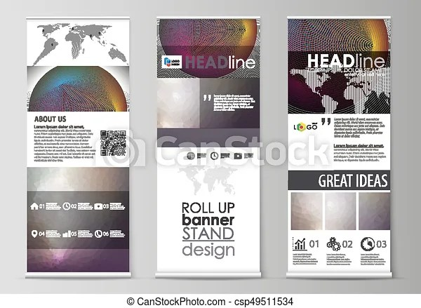 Roll up banner stands, flat design templates, business concept