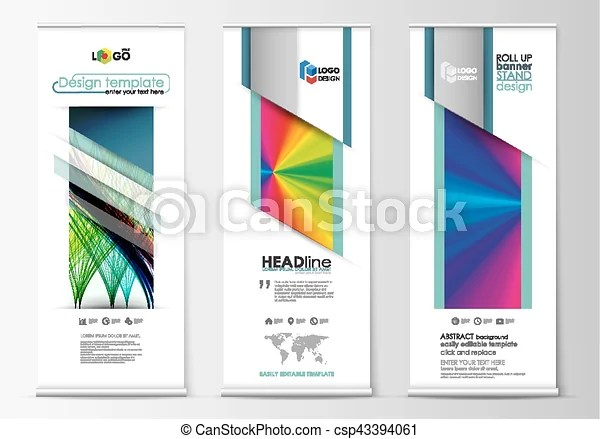 Roll up banner stands, geometric style templates, business concept