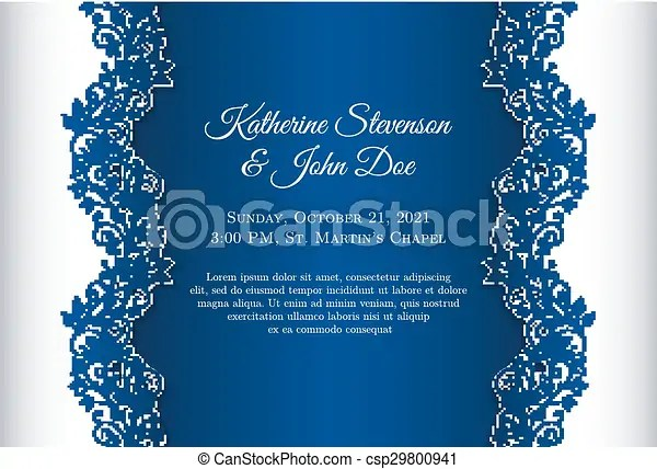 Romantic wedding invitation with blue background and floral ornament