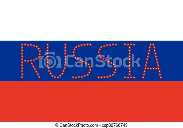Russian flag and word russia from hearts Russian flag in correct - word flag