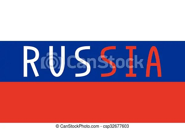Russian flag and word russia Russian flag in correct proportions - word flag