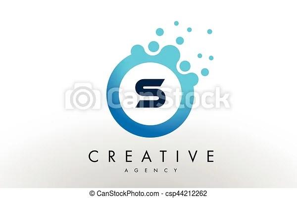 S letter logo blue dots bubble design vector S dots letter logo