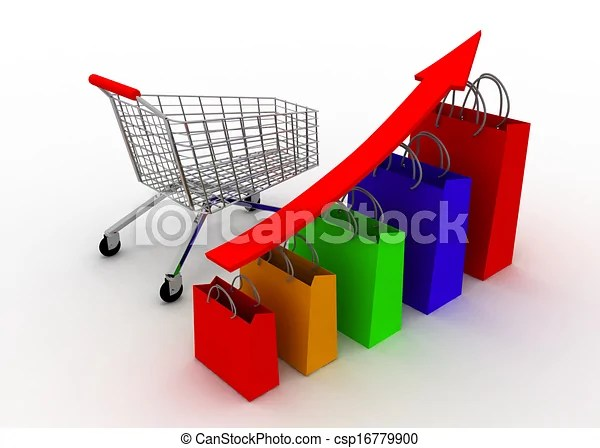 Sales grow chart with cart Sale grow chart with cart - Sale Chart