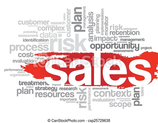 Sales word cloud  Word cloud with sales related tags, vector - sales word