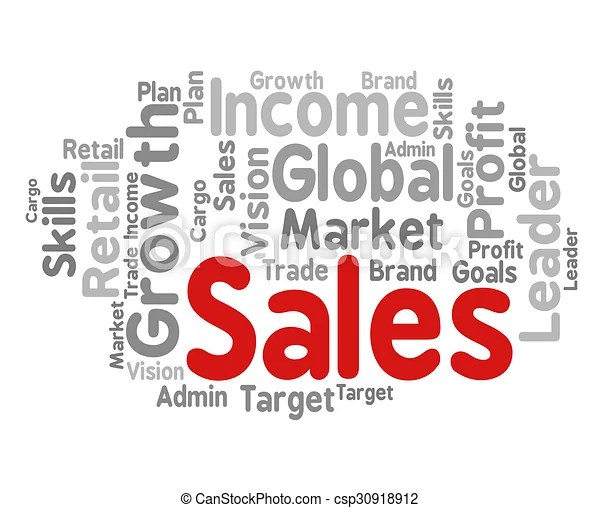 Sales word means selling text and e-commerce Sales word showing - sales word