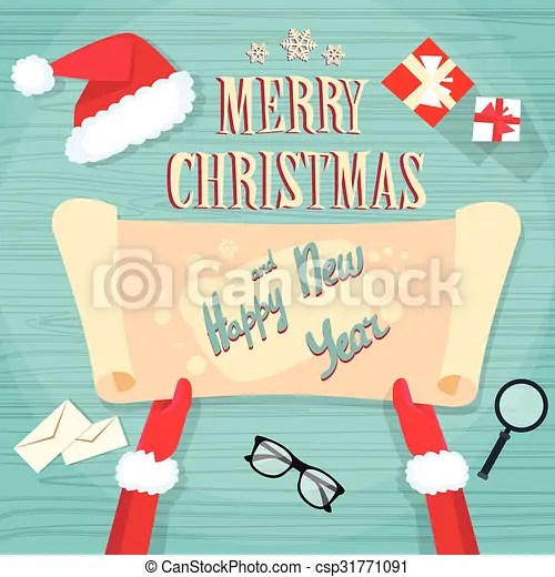 Santa claus hands scroll old paper merry christmas wish list office - christmas wish list paper
