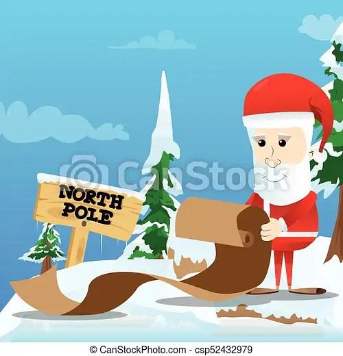 Santa claus holding long paper, christmas letter, wish list