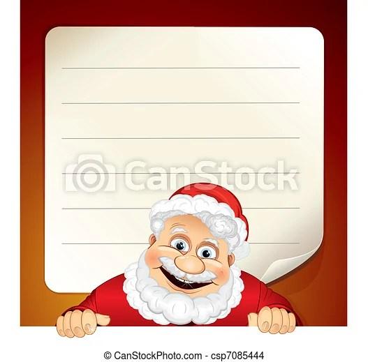 Santa list Cartoon santa claus and blank wish list - santa list blank