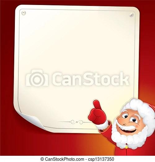 Santa with blank list Santa sign cartoon santa claus with - santa list blank