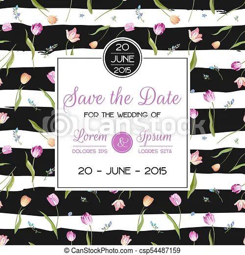Save the date wedding card with blossom tulips flowers birthday - save the date birthday template
