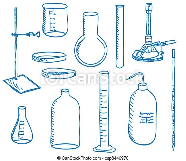 Science laboratory equipment - doodle style Illustration of a