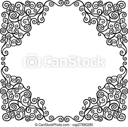 Scroll border Black graphic scroll decorative border, vector