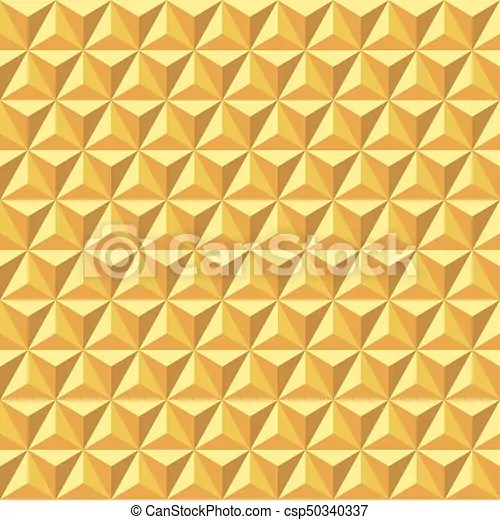 Seamless abstract golden geometric facet surface pattern