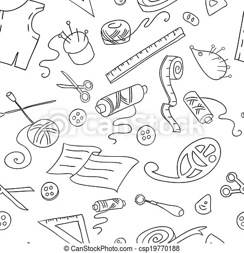 Seamless background with sketches of sewing tools - background sketches