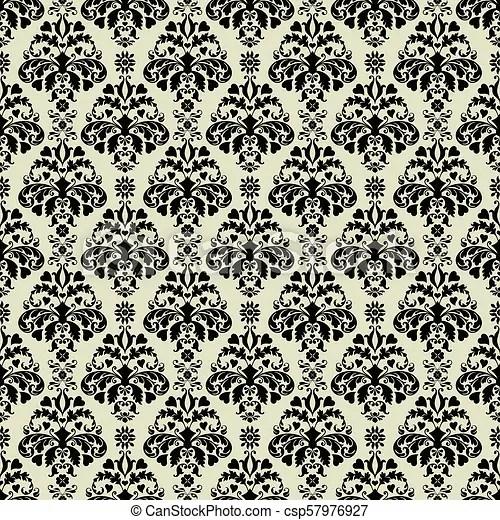Seamless grey  black damask pattern Seamless damask pattern in