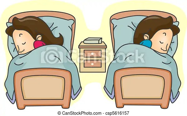 Illustration Of A Couple Lying In Separate Beds