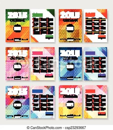 Set of 2015 calendar template brochure geometric design modern back