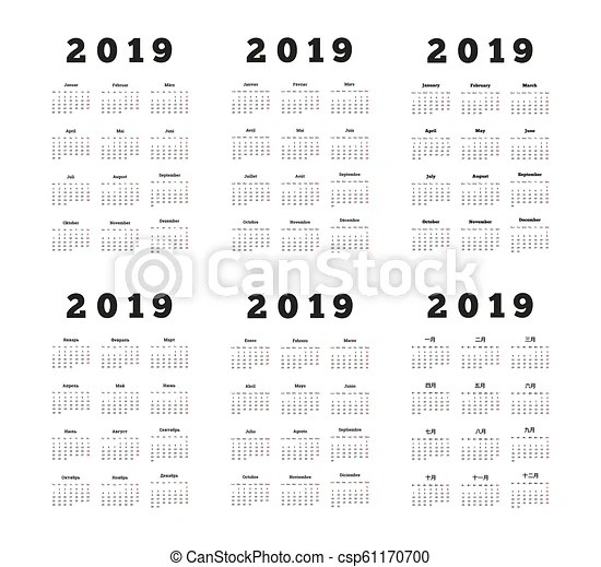 Set of 2019 year simple vertical calendars on different languages
